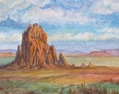 Desert Landscape- Shiprock, New Mexico- 5x7 Original Watercolor South West Landscape- rock formations, clouds