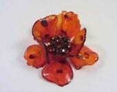 Amber Lucite 3D Flower Brooch