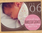 Custom Printable Photo Birth Announcement // Baby Girl Brown Pink Bubbles