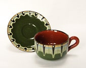 Beautiful Retro Green Brown Psychedelic Patterned Cup and Saucer - Earthenware
