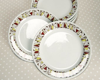 6 Retro 50s style Steelite Fanfare Design Side Plates - Royal Doulton Made in England Hotelware