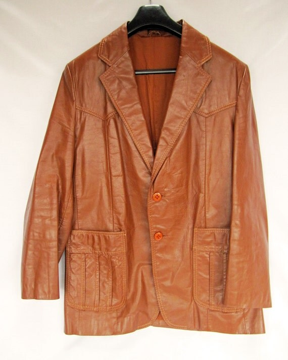 Vintage Retro 60s/70s Chocolate Brown Real Leather Jacket 42 inch Chest fit very Donnie Brasco