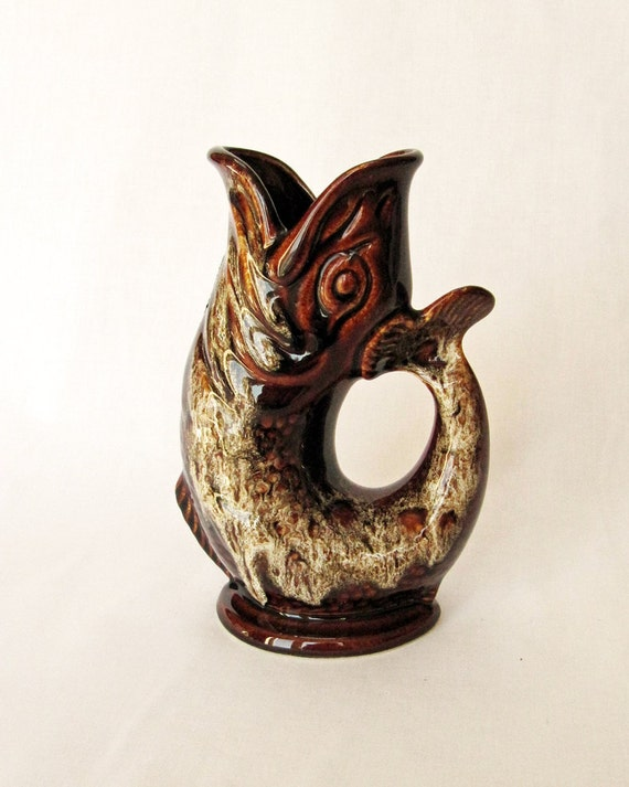 Beautiful Retro Brown Fish Vase by Fosters Pottery of Cornwall, England