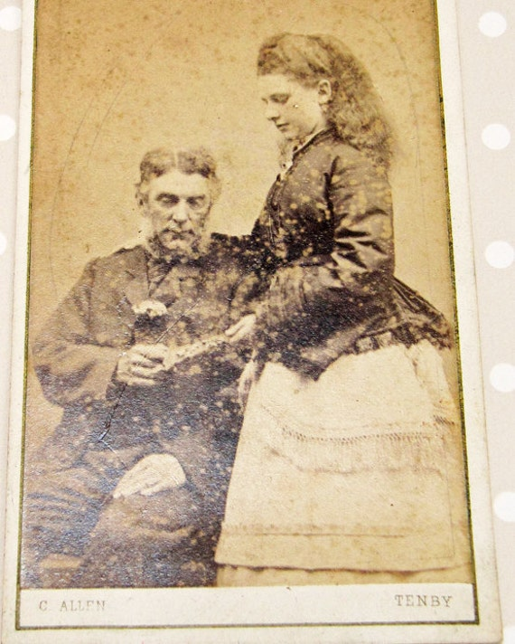 Victorian Vintage Welsh Couple Cabinet Card By C Allen of Tenby