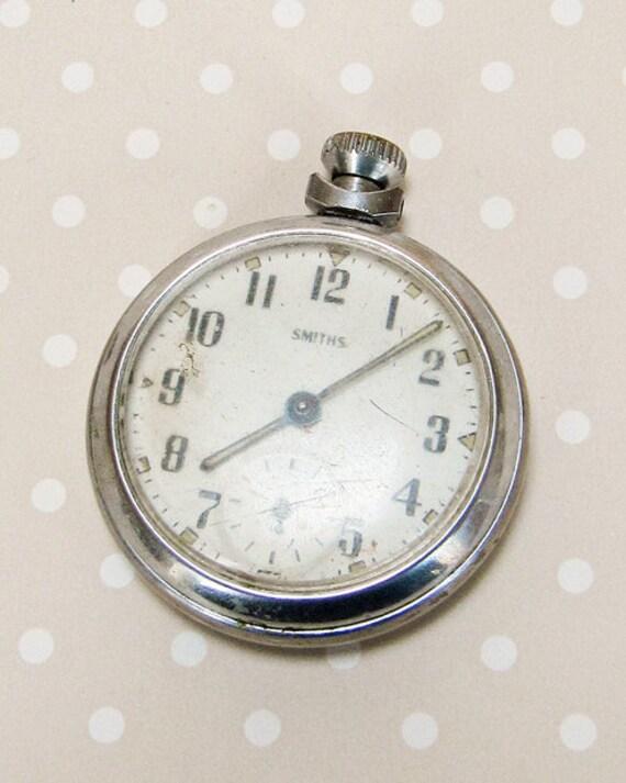 Vintage Working Wind Up Smiths Silver Steel Metal Pocket Watch Made in Great Britain - Steampunk