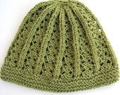 Lacy soft green hat in wool cotton blend