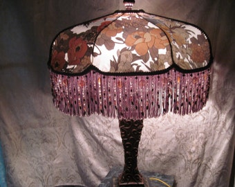 Steel Magnolia - Artists specialty line lamp,  One of A Kind Lampshade w/ Base