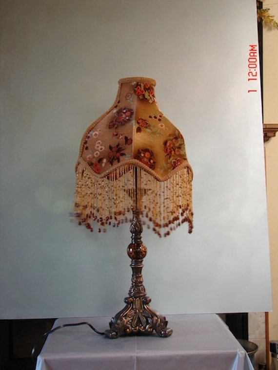 "Designer, One of A Kind Lampshade w/ Base - ""Italian Nights"""