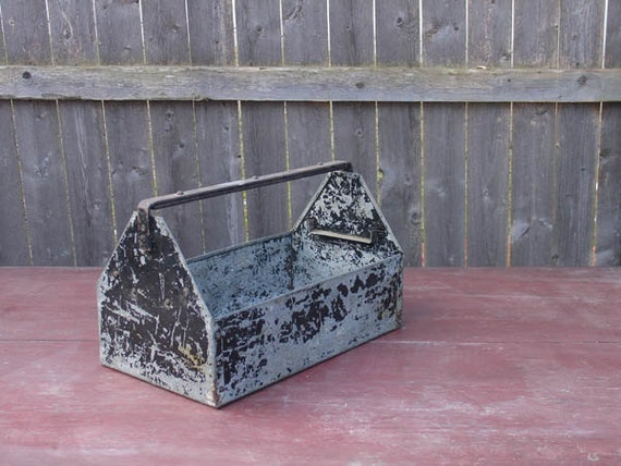 "antique vintage industrial factory tool caddy painted metal rustic ""nelson"""