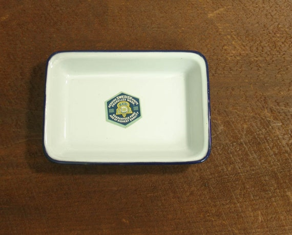 never used porcelain vintage swedish enamelware blue & white dish