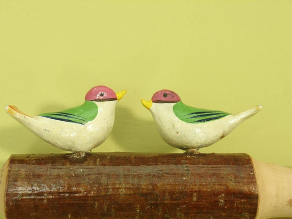 antique german toy bird whistle with two folk art hand painted birds