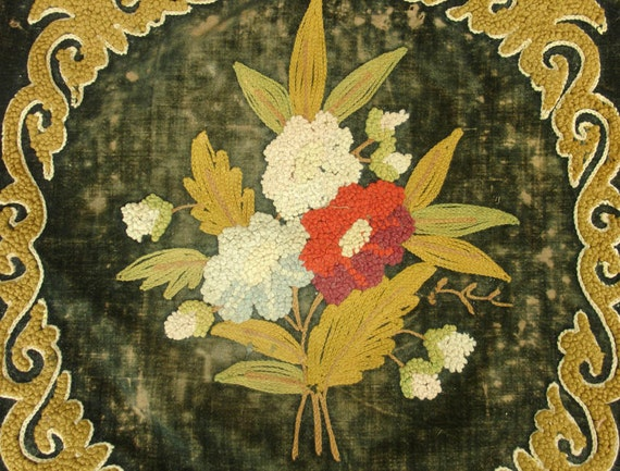 antique victorian floral needlepoint remnant size of pillow