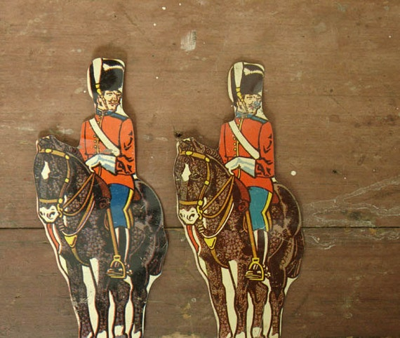 "marx tin lithograph toy soldiers ""royal scots greys"" shooting targets"