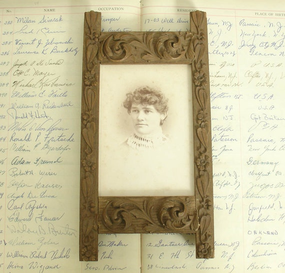 victorian carved oak picture frame with cabinet card photo eastlake victorian