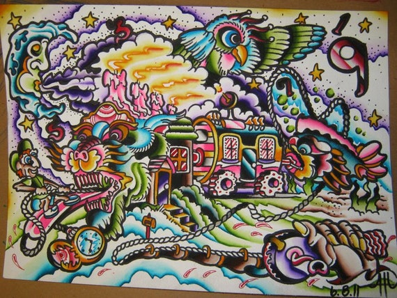 original water color tattoo art crazy train