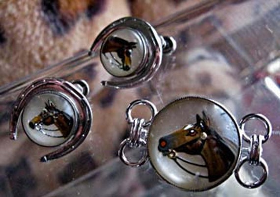 Glass dome painted horse head sterling brooch earrings