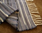Blue and White Woven Recycled Cotton Rag Throw Rug Hand Loomed