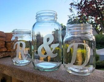 Mason Jars, Wedding Sand Ceremony, Personalized Jars