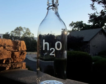 Glass Water Bottle, Etched Glass, Personalized Glass