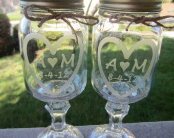 Redneck Mason Jar Wedding, 2 Redneck Wine Glass,  Personalized Etched Glass