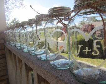 15 Etched Mason Jars - 15 Wedding Mason Jar Center Pieces