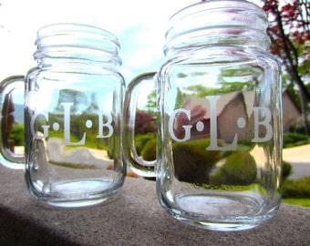 6 Mason Jar Mugs - Mason Jars, Personalized Customized Mason Jar