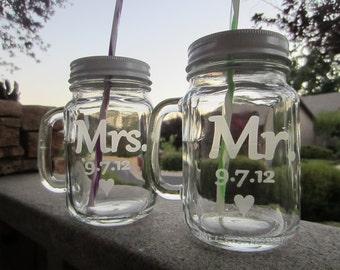 Mason Jar SIppy Cups, Mr. Mrs, set of 2