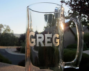 2 Customized Beer Mug, 32 OZ. Etched Beer Mug,