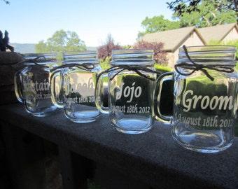 Mason Jar Wedding Mugs, Wedding Bridal Party, Gifts, Mason Jars, 8 Mugs