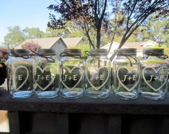 6 Etched Mason Jars -6 Wedding Mason Jar Center Pieces