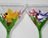 Green stemmed martini glasses with tropical fish and crab