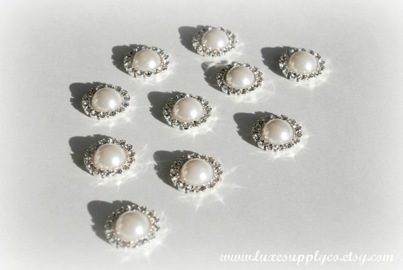 Rhinestone & Pearl 19mm metal embellishments with your choice of a loop or flat back - WHOLESALE DISCOUNTS - MR165 19mm