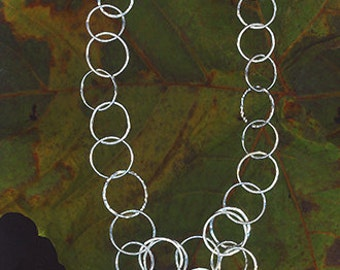 Sterling silver chain necklace with V-cascade