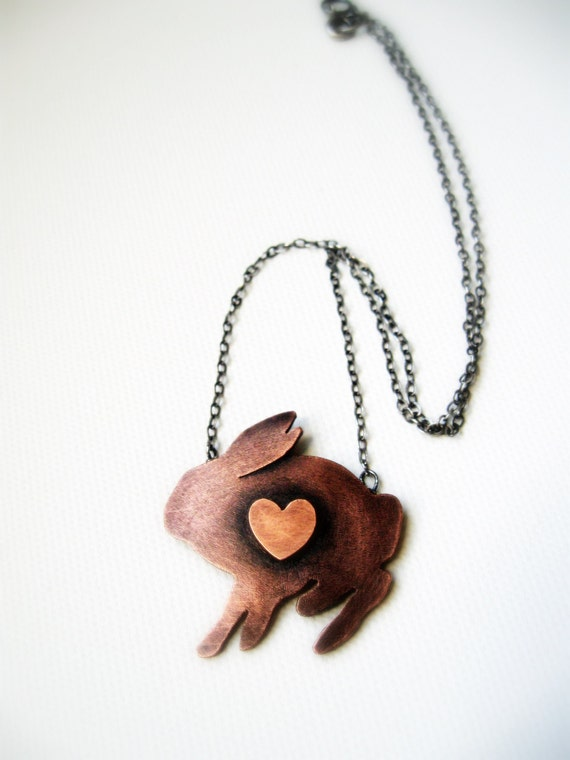 Copper Rabbit Necklace... Rustic Copper Bunny Heart Sterling Silver