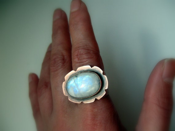 Reserved, Moonstone Ring Gemstone Rustic Copper Flower Statment Cocktail Metalsmith Stone Mineral
