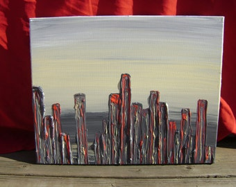 Bloodied Smog - Original Acrylic Painting Canvas - 16 x 20