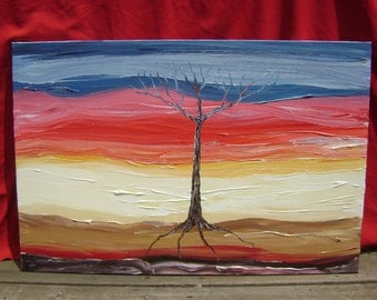 African Blizzard - Original Abstract Acrylic Painting Landscape Canvas Tree - 24 x 36