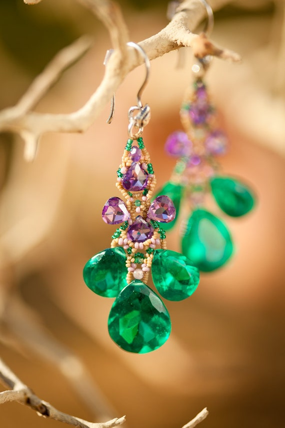 Green and Purple Beaded Earrings