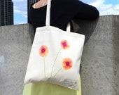 Hand-Painted, Hand-Sewn Canvas Poppy Tote Bag