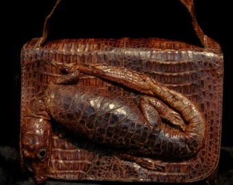 Antique Leather Pouch Reptile Leather Purse Vintage Leather