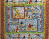 Baby Girl Quilt - Babies on the Beach