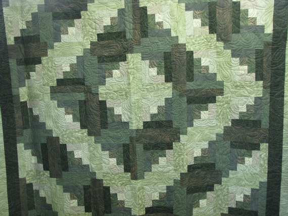 Reserved for Margaret - Queen Quilt - Handmade Log Cabin in Greens