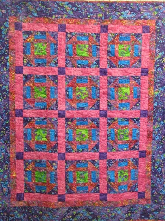 SALE - Girl Quilt - Lap Quilt - Batik in Pink and Purple