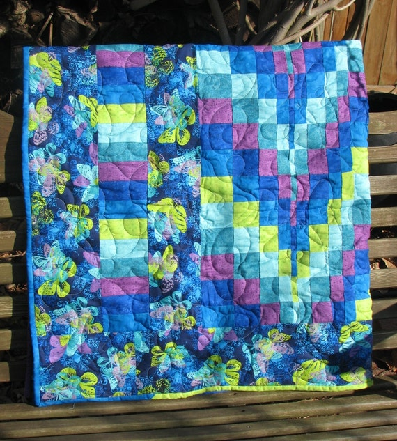 Reserved for Sandy - Baby Quilt, Lap Quilt, Wall Hanging, Table Topper - Blue Butterfly Bargello