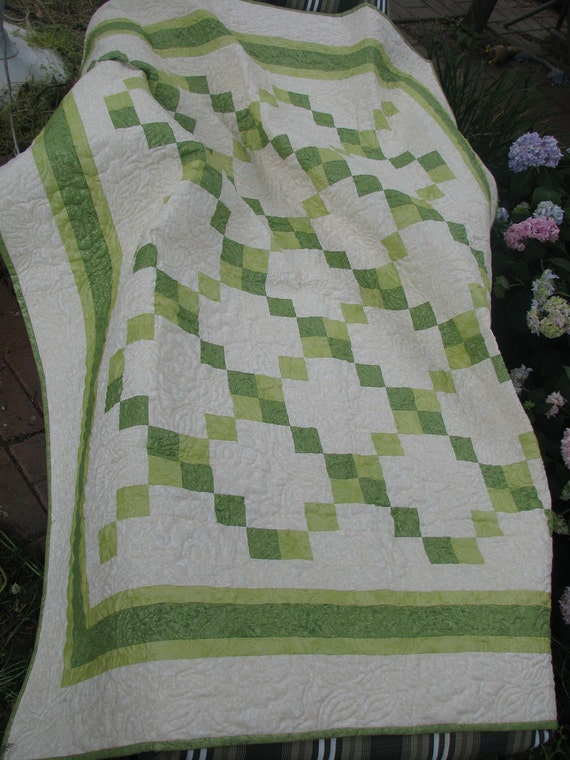 Handmade Lap Quilt - Irish Chain in Fairy Frost Greens and Cream