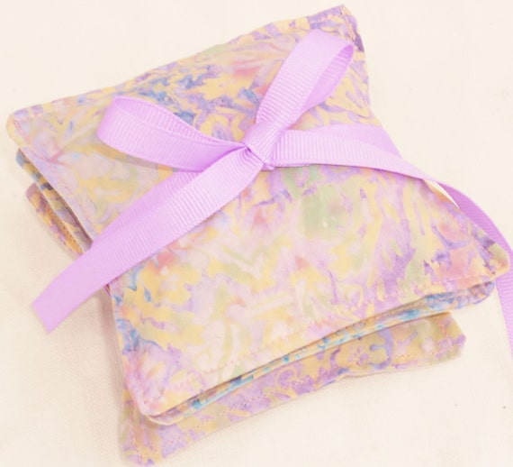 Lavender Sachet Pillows - Set of 3-Batik Fabric, Free Shipping