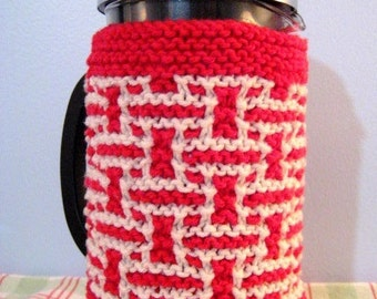 French Press Coffee Cozy, Red and Cream Basketweave
