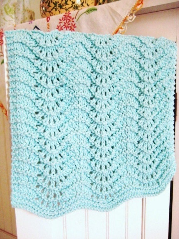 Hand Towel, Guest Towel, Hand Knit, Robins Egg Blue Feather & Fan
