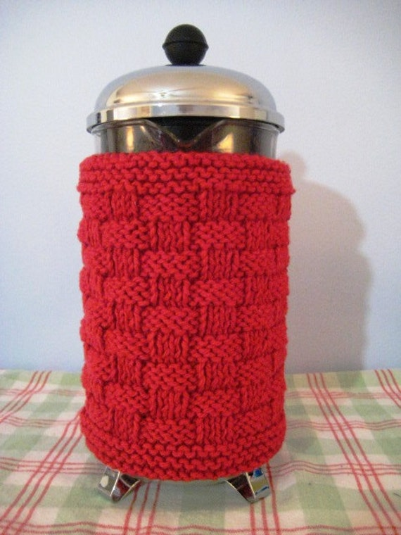 French Press Coffee Cozy, Rich Red Basketweave