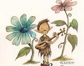 Original Watercolor: Elf with Lute